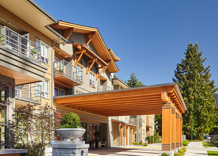 Amica Edgemont senior living residence entrance from outside.